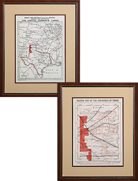 Map Of Xit Ranch Texas.Antique Replica Maps Of The X I T Ranch