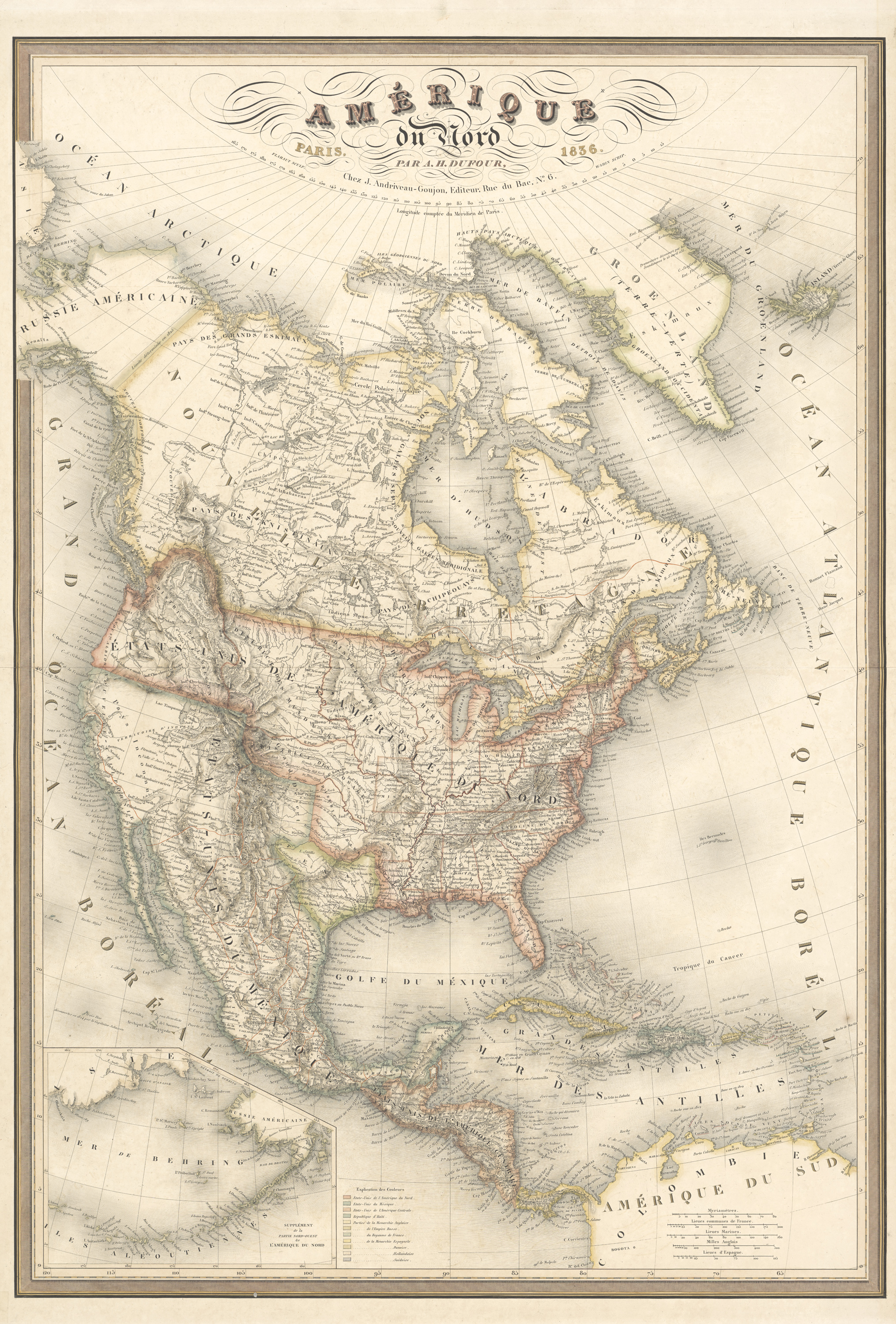 Map of the Republic of Texas and North America circa 1836, Paris