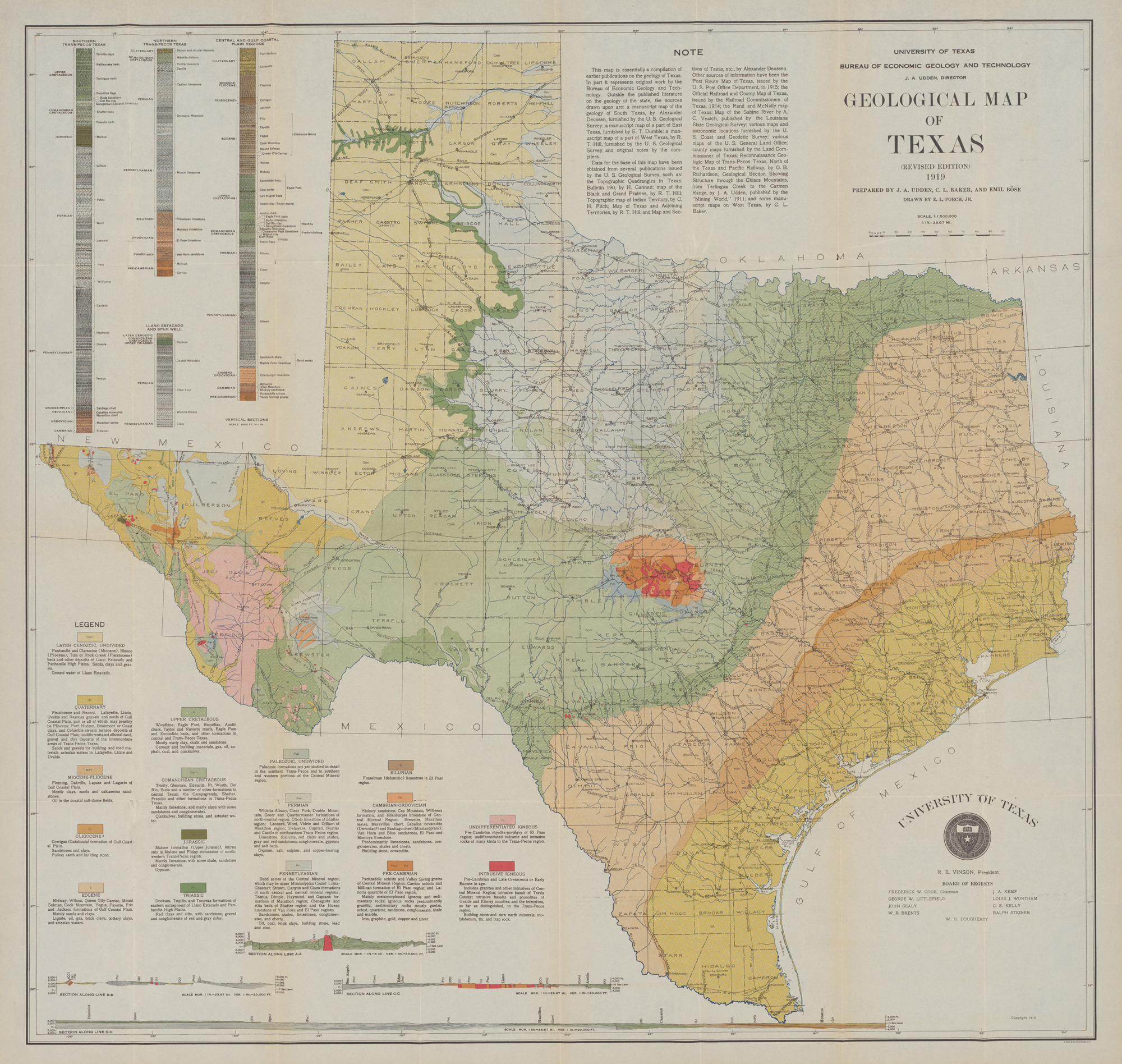 The Definitive Geologic Map Of Texas Published By The University